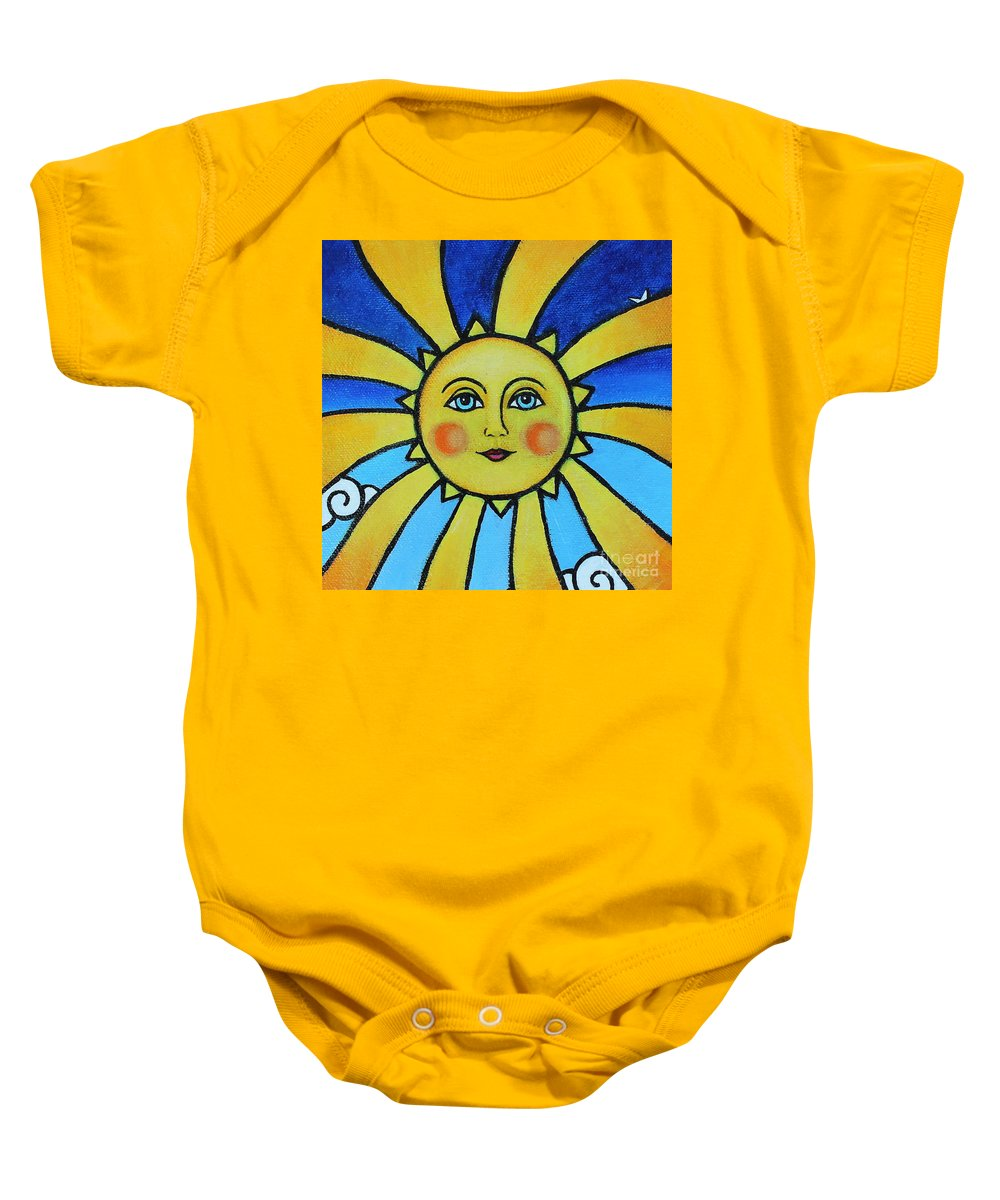 Soleil Baby Onesie featuring the painting Soleil by Tricia Lesky