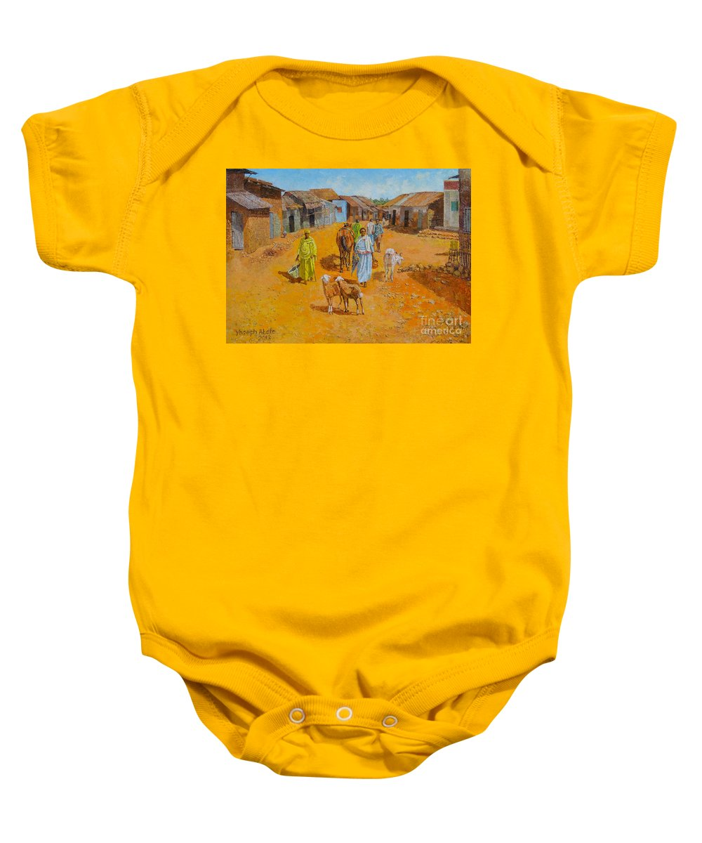 Old Baby Onesie featuring the painting Cityscape by Yoseph Abate