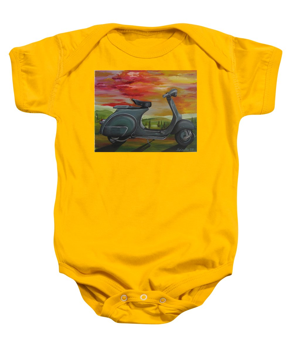 Vespa Baby Onesie featuring the painting '68 Vespa Piaggio In Its Natural Environment by Alex Spinello