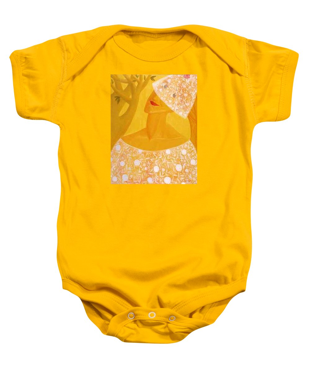 Bride Baby Onesie featuring the painting A Bride by Israel Tsvaygenbaum
