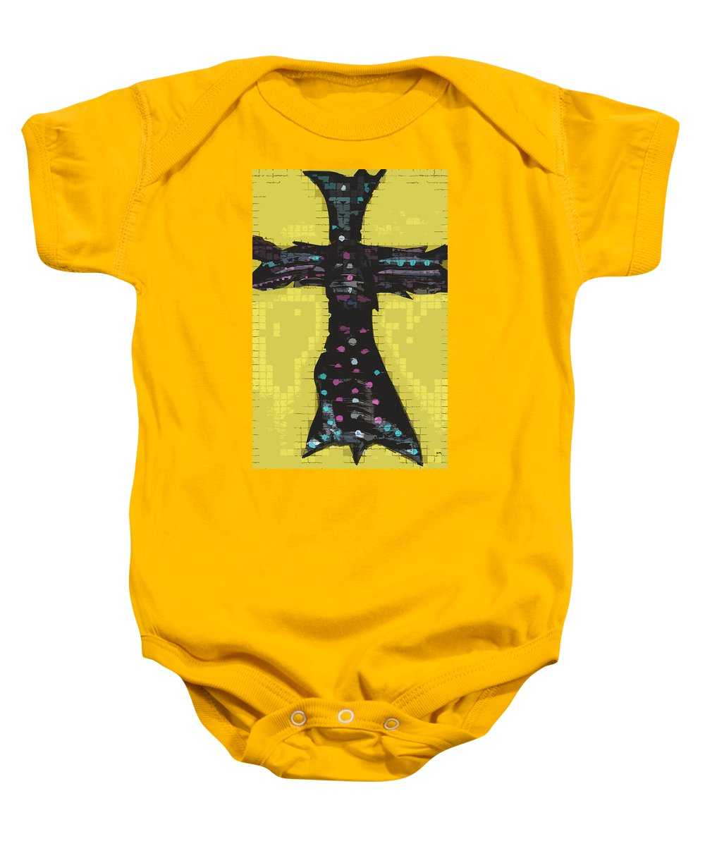 Cross Baby Onesie featuring the painting A Cross To Bare by Robert Margetts