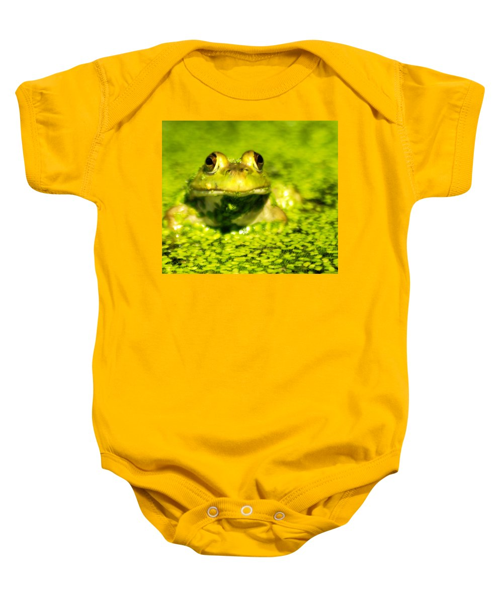 Green Algae Baby Onesie featuring the photograph A Frogs Day by Optical Playground By MP Ray