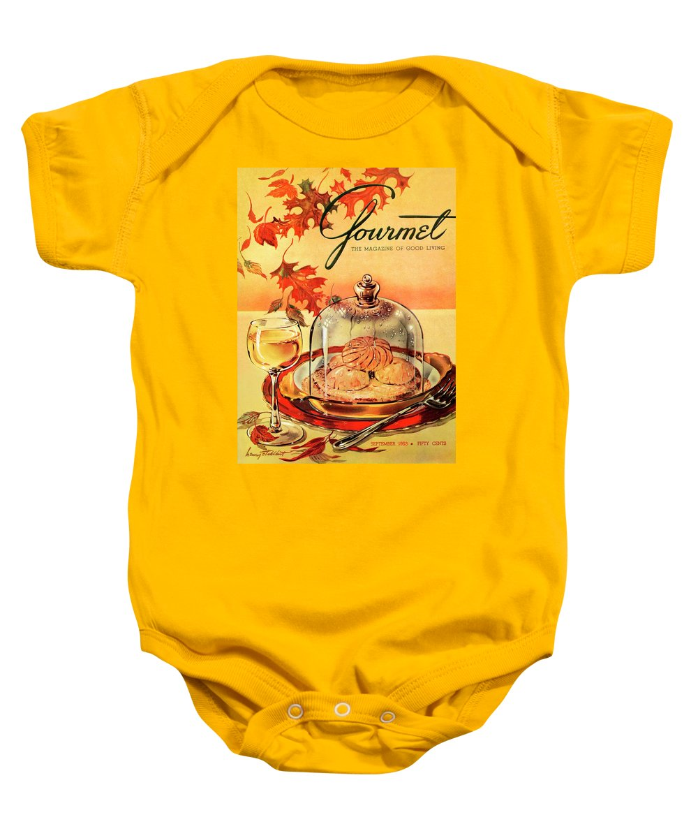 Illustration Baby Onesie featuring the photograph A Gourmet Cover Of Mushrooms On Toast by Henry Stahlhut
