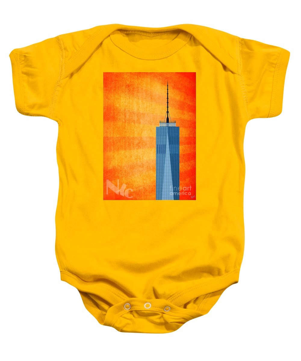 World Trade Center Illustration Baby Onesie featuring the digital art A New Day - World Trade Center One by Nishanth Gopinathan