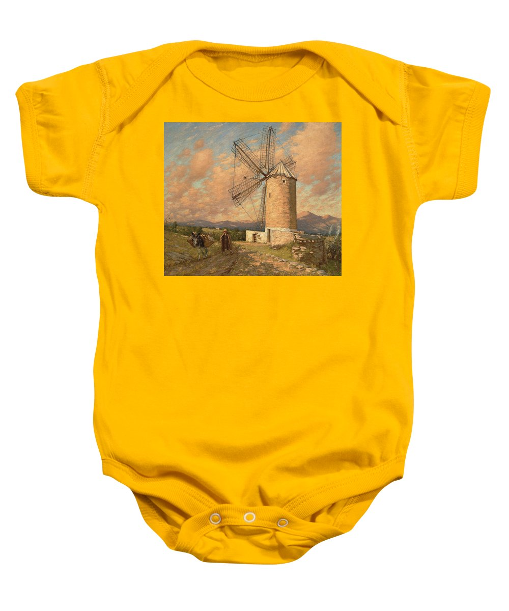 Windmill Baby Onesie featuring the painting A Spanish Mill by Henry Herbert La Thangue