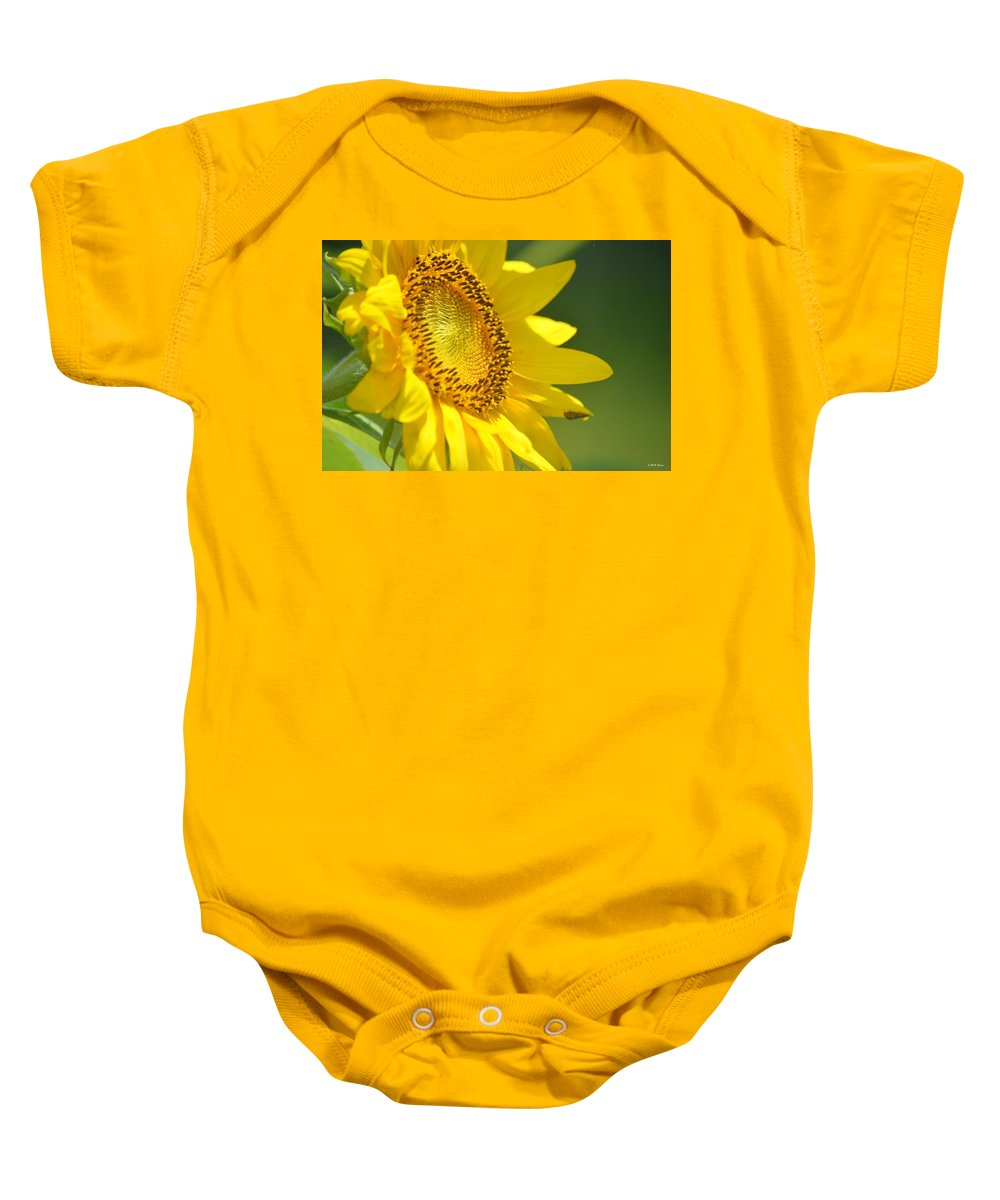 A Summer's Sunflower Baby Onesie featuring the photograph A Summer's Sunflower by Maria Urso