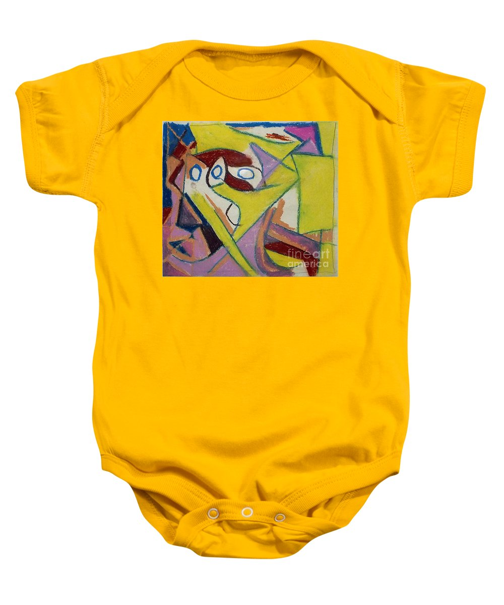 Compostion Baby Onesie featuring the drawing Abstract Study 1985 by David Baruch Wolk