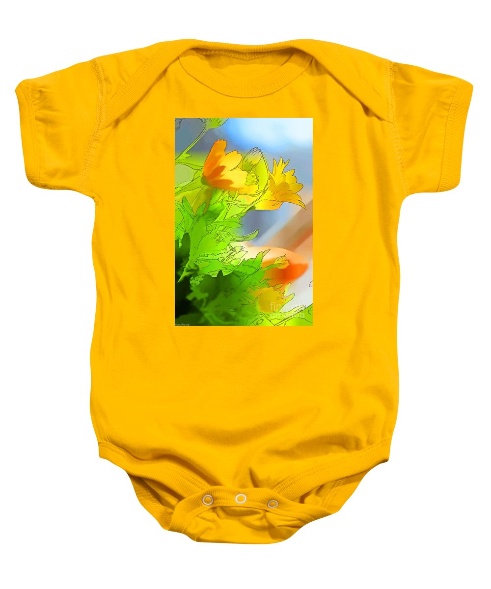 Garden Baby Onesie featuring the photograph African Daisy I - Digital Paint by Debbie Portwood