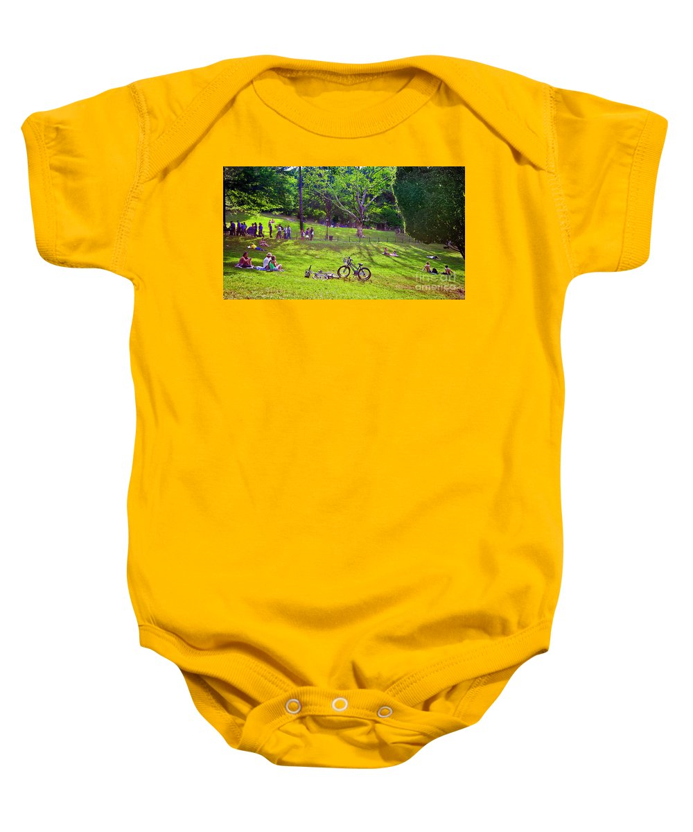 Park Baby Onesie featuring the photograph Afternoon In The Park With Friends by Madeline Ellis