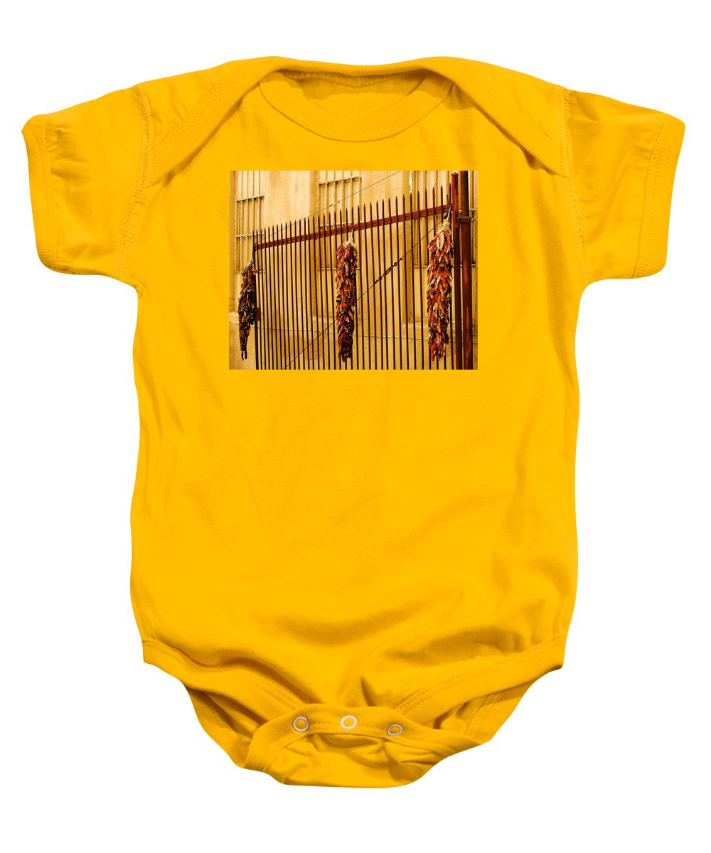 Alley Baby Onesie featuring the photograph Alleys Of Taos by Terry Fiala