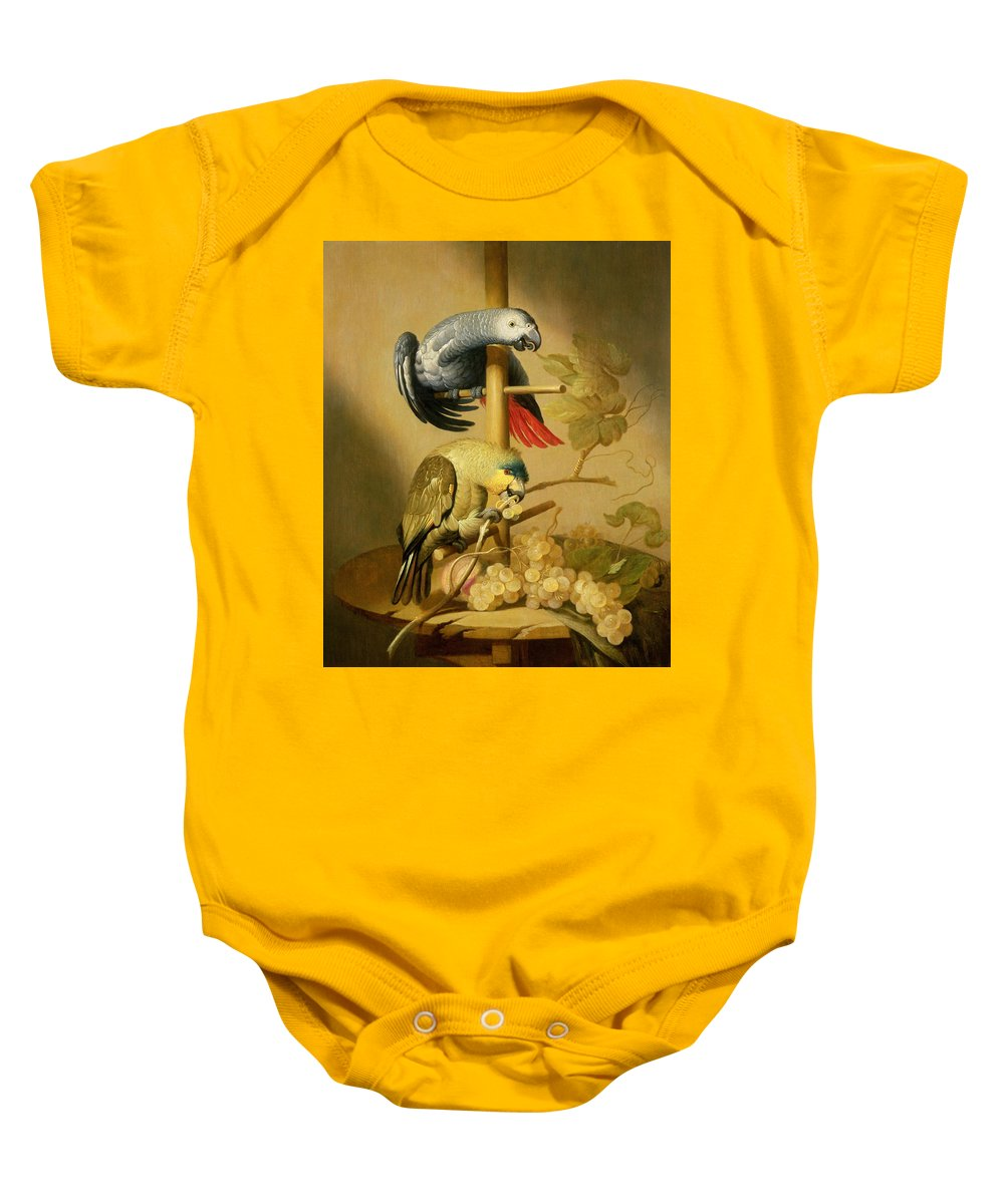 Birds Baby Onesie featuring the photograph An African Grey And An Orange Winged Amazon Parrot On A Perch With Grapes by Jacob Fransz van der Merck