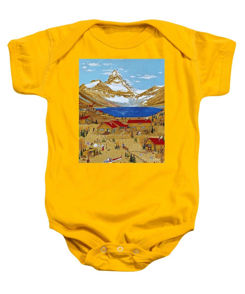 Mt Assiniboine Lodge Baby Onesie featuring the painting An Alpine Autumn by Virginia Ann Hemingson