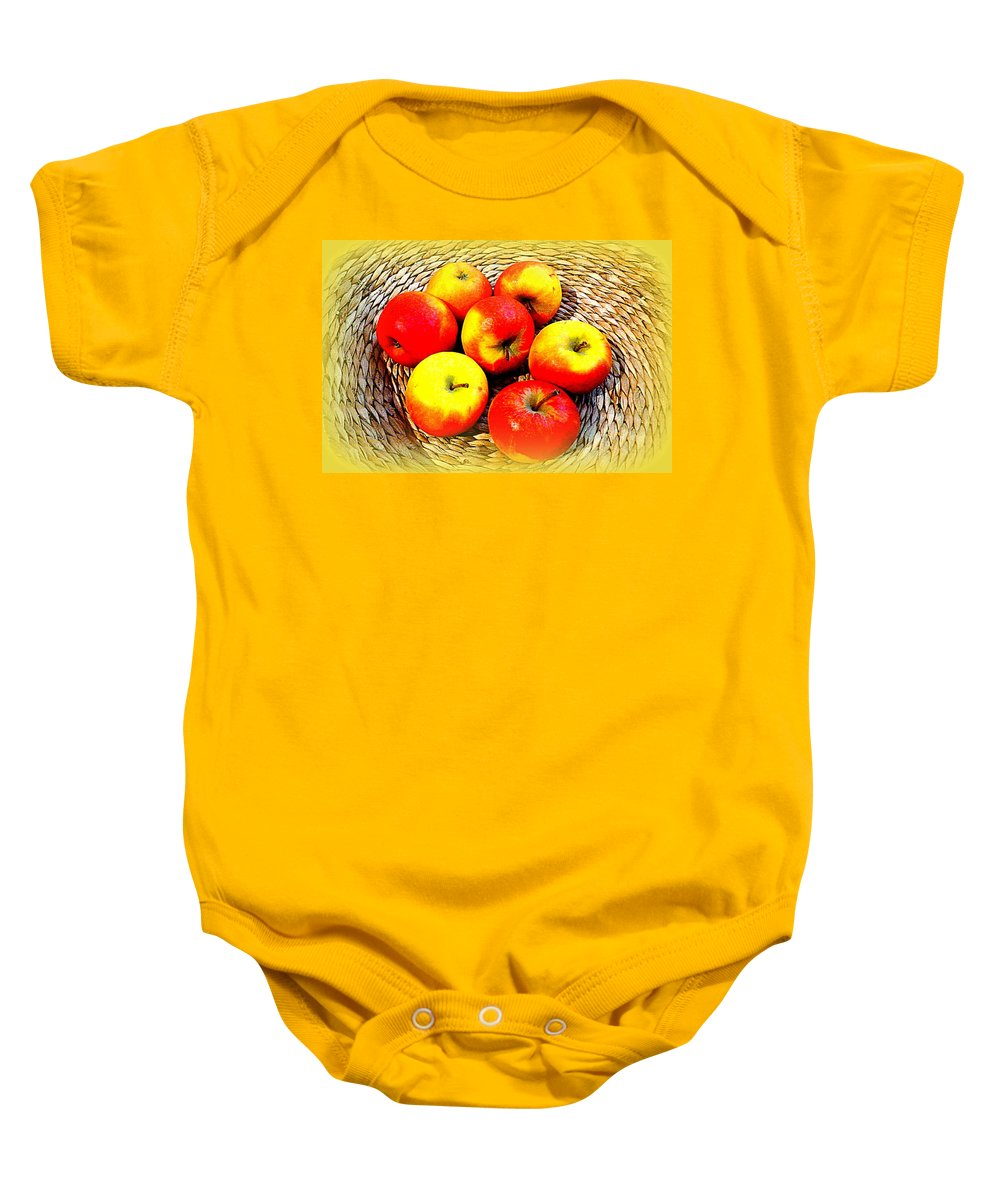 Apples Baby Onesie featuring the photograph An Apple A Day... by The Creative Minds Art and Photography