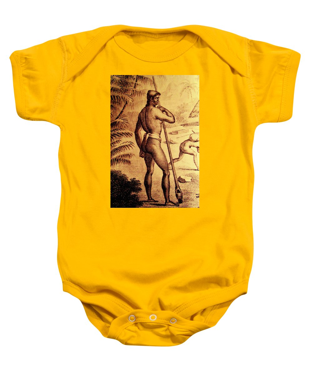 Chamorro Baby Onesie featuring the mixed media Ancient Chamorro Society 3 by Michelle Dallocchio