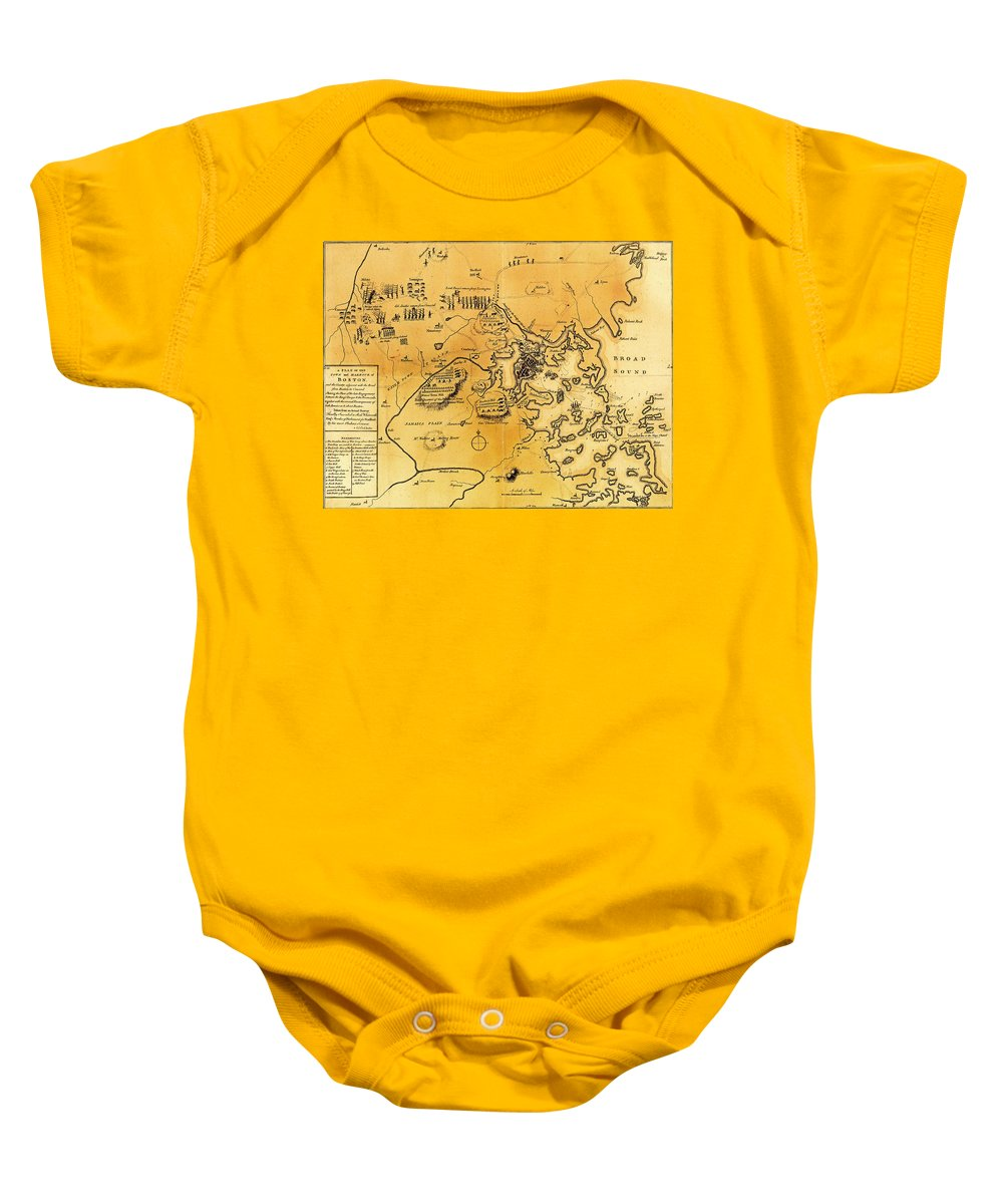Map Baby Onesie featuring the drawing Antique Map Of The Battles Of Lexington And Concord 1775 by Mountain Dreams