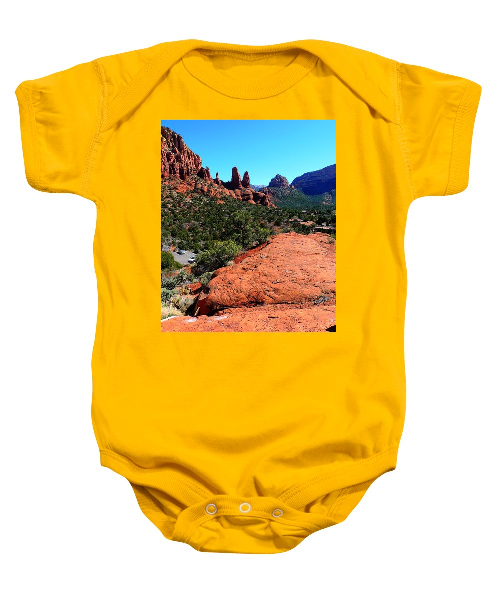 Arizona Baby Onesie featuring the photograph Arizona Bell Rock Valley N8 by John Straton