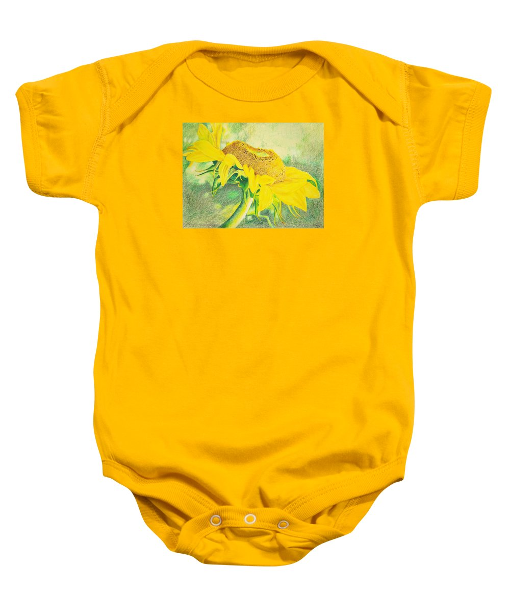 Sunflower Art Print Baby Onesie featuring the mixed media Sunflower Print Art For Sale Colored Pencil Floral by Diane Jorstad