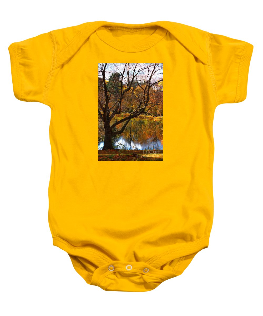 New England Baby Onesie featuring the photograph Autumn Gold by Marcel J Goetz Sr