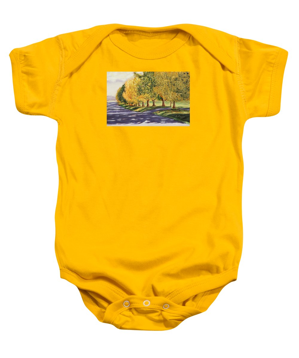 Painting Baby Onesie featuring the painting Autumn Lane by Alan Mager