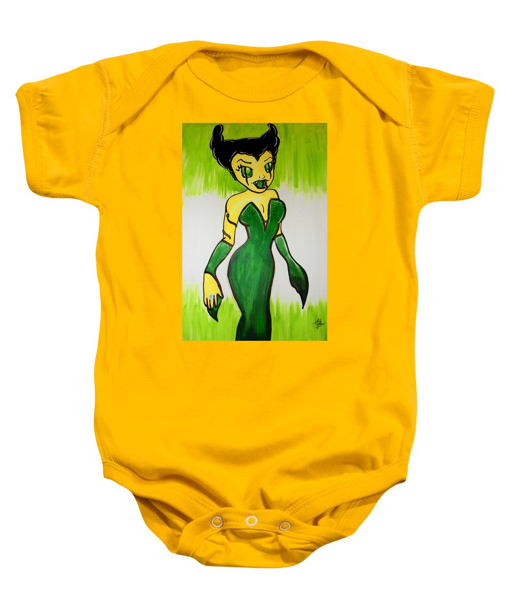 Girl Baby Onesie featuring the painting B. E. G. Snake by Marisela Mungia