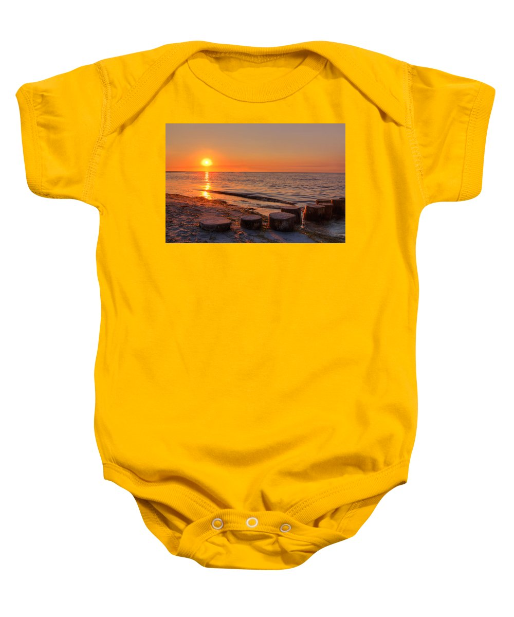 Ostsee Baby Onesie featuring the pyrography Baltic Sun by Steffen Gierok
