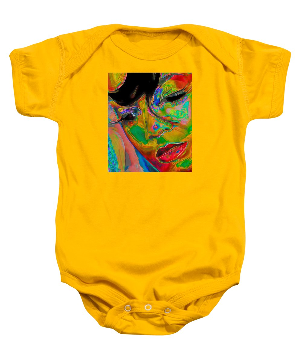 Bangs; Hair; Woman; Girl Female; Portrait Painting; Figurative Art; Fine Art; Fine Art America; Fine Art Print; Fli; Contemporary Art; Modern Art; Oil On Canvas; Original Painting; Digital Art; Impressionism Art; Eyes; Nose; Modern Art; Mouth; Lips Baby Onesie featuring the painting Bangs by Fli Art