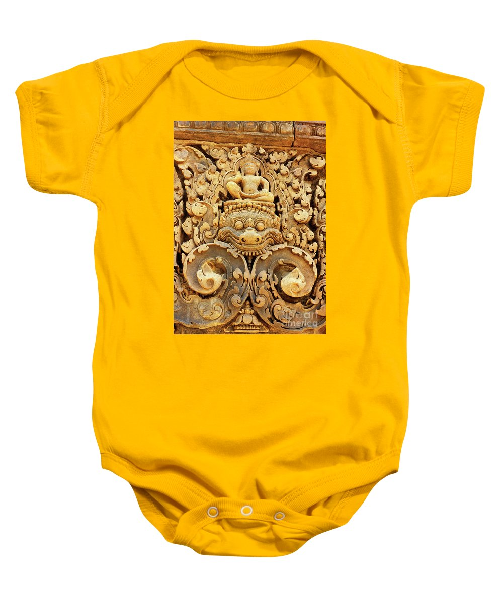 Banteay Baby Onesie featuring the photograph Banteay Srei Carving 01 by Rick Piper Photography