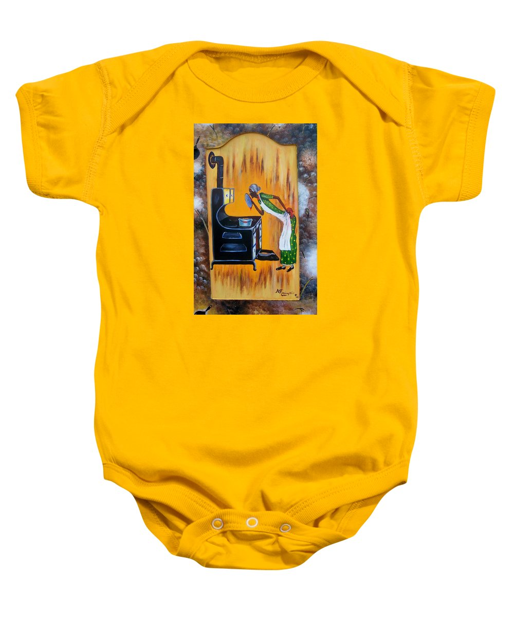 Beans And Cornbread Baby Onesie featuring the painting Beans And Cornbread by Arthur Covington