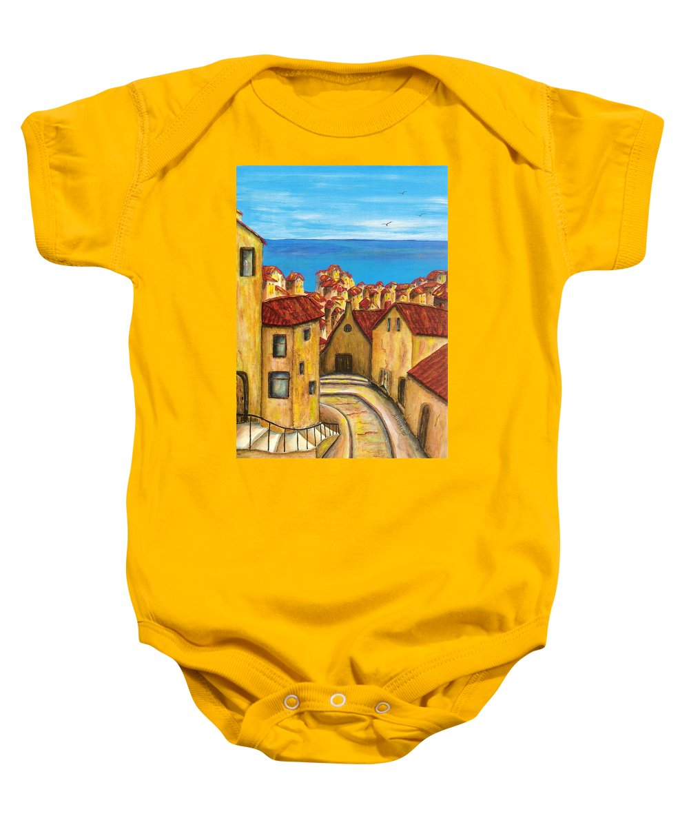 Pamela Allegretto Baby Onesie featuring the painting Biagi In Tuscany by Pamela Allegretto