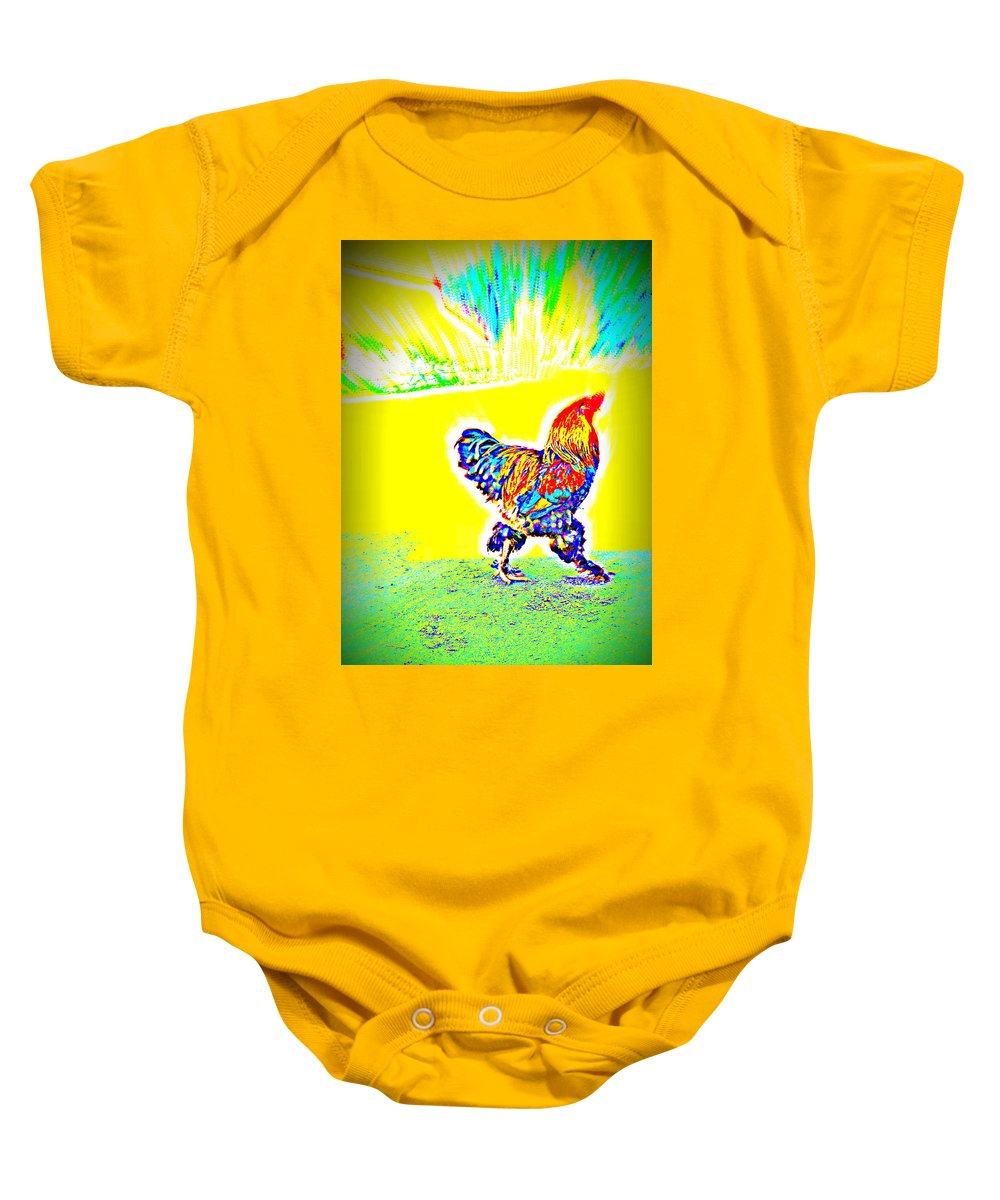 Rooster Baby Onesie featuring the photograph Who Is Afraid Of The Birdy Boss by Hilde Widerberg