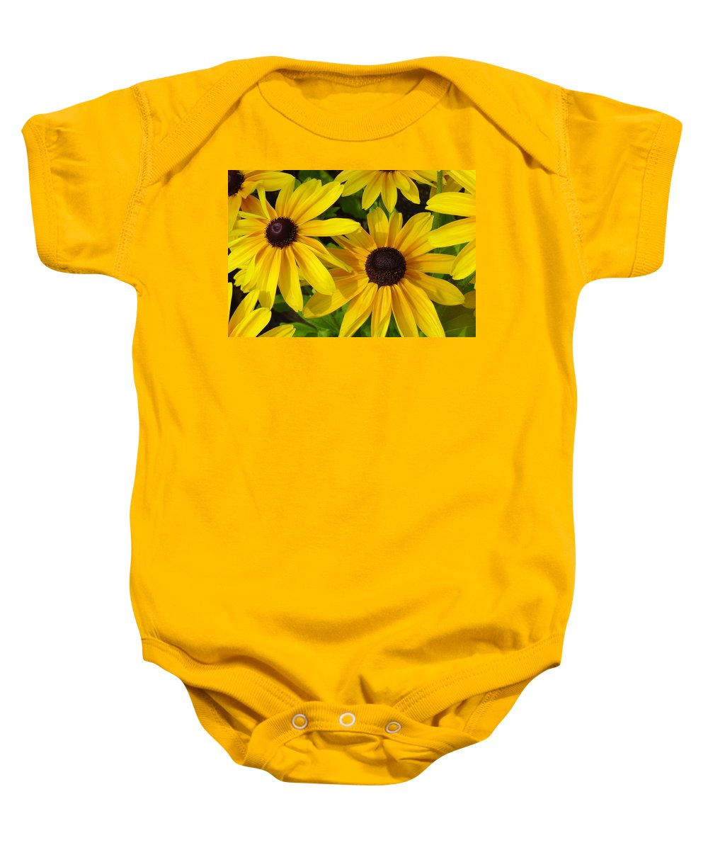 Black Eyed Susan Baby Onesie featuring the photograph Black Eyed Susans by Suzanne Gaff