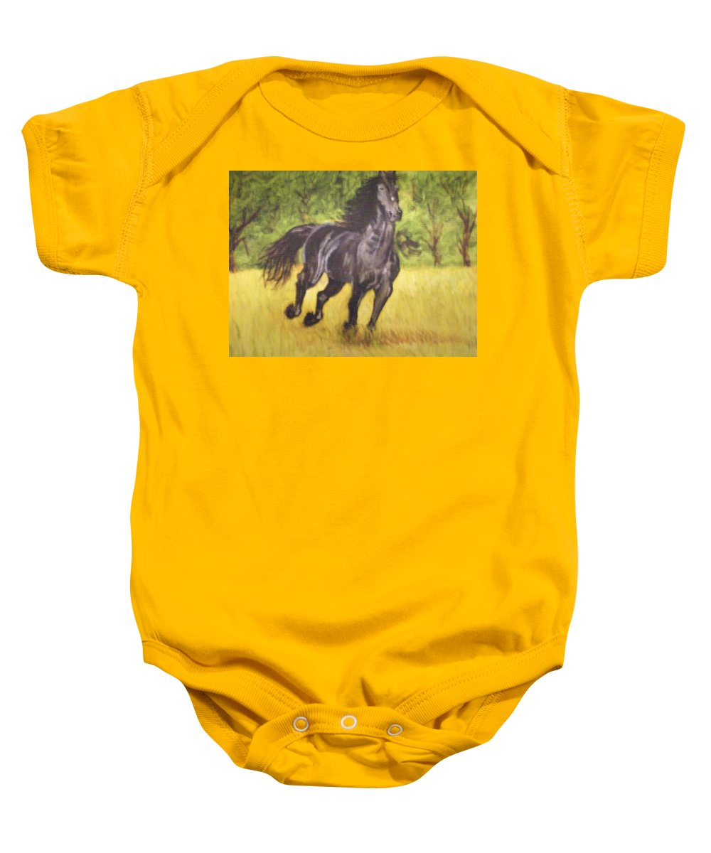 Horse Baby Onesie featuring the painting Black Horse by Terry Lewey