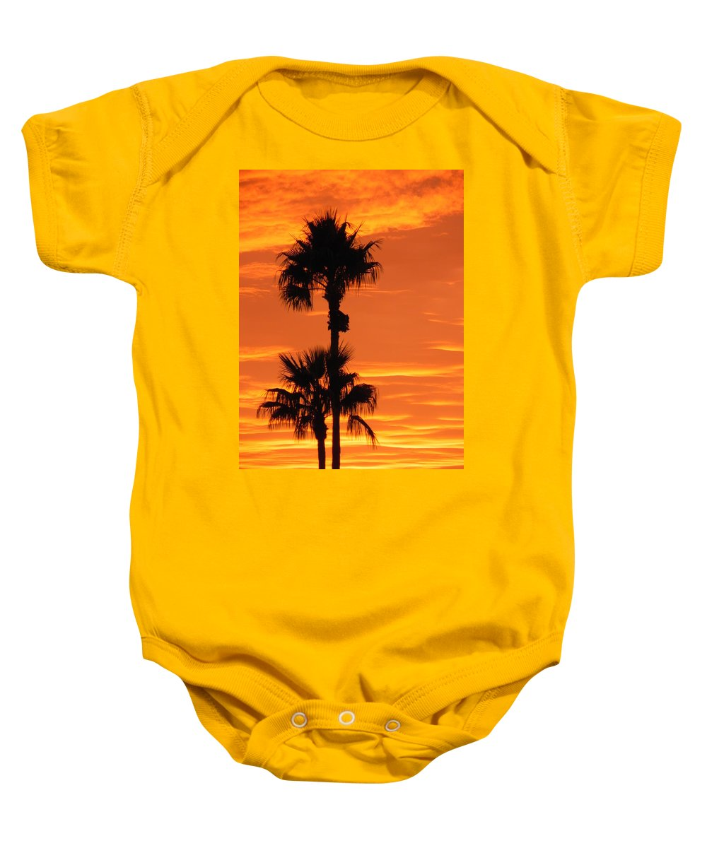 Sunset Baby Onesie featuring the photograph Blazing Sunset by Deb Halloran
