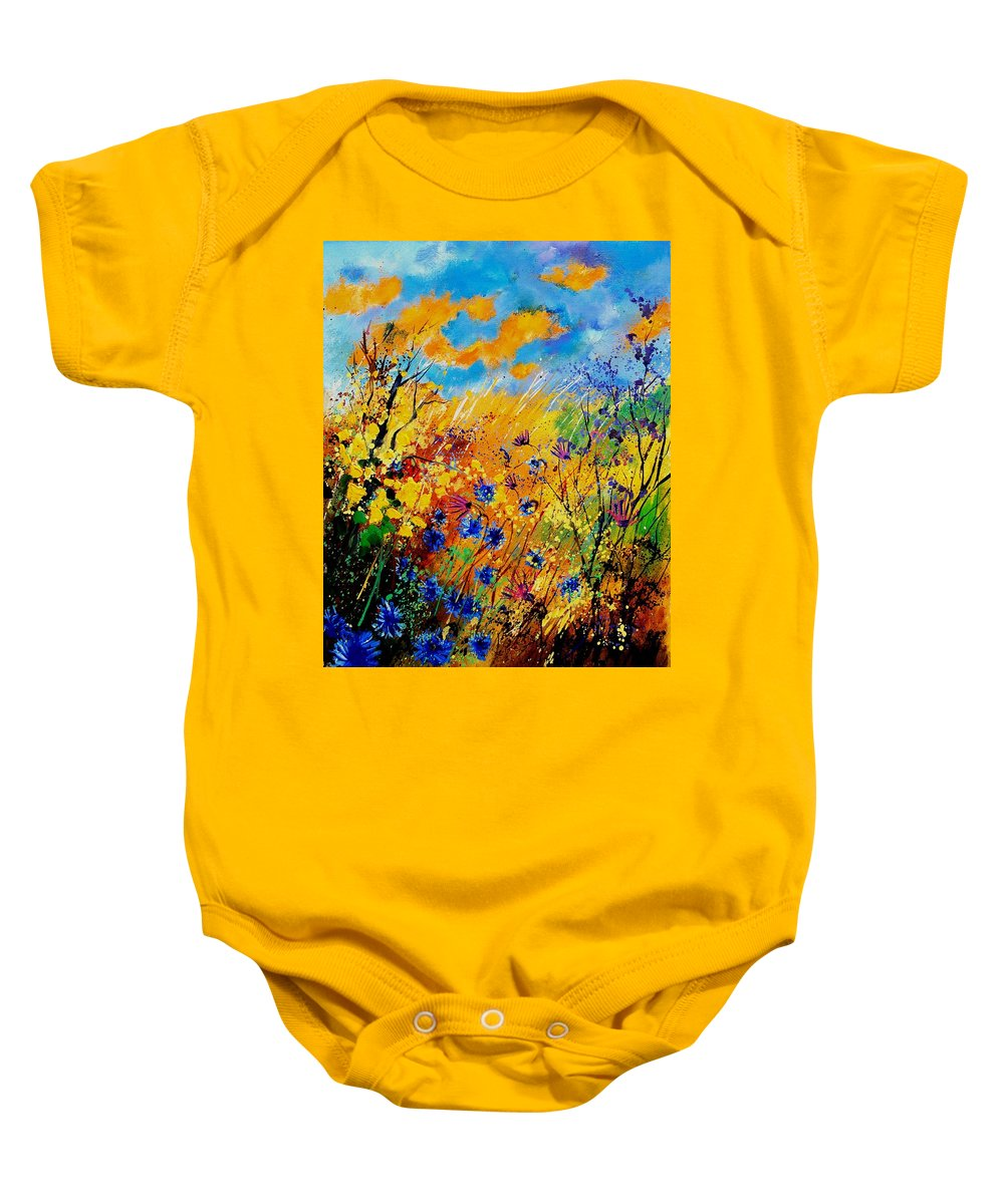 Poppies Baby Onesie featuring the painting Blue cornflowers 450408 by Pol Ledent