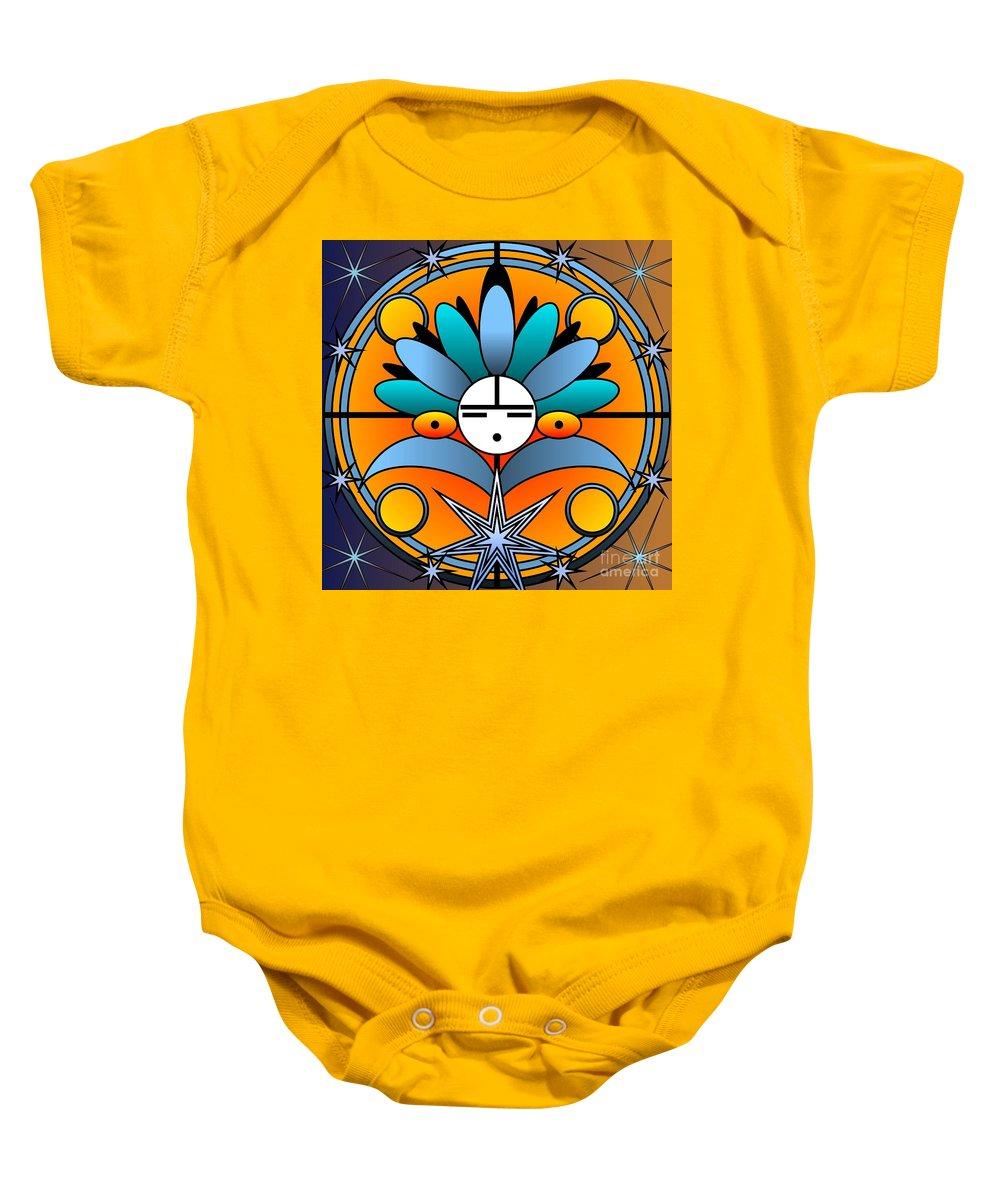 Digital Baby Onesie featuring the digital art Blue Star Kachina 2012 by Kathryn Strick