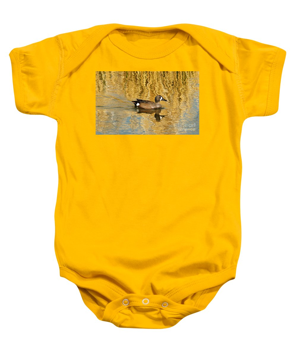 Blue Winged Teal Baby Onesie featuring the photograph Blue Winged Teal 2 by Vivian Christopher
