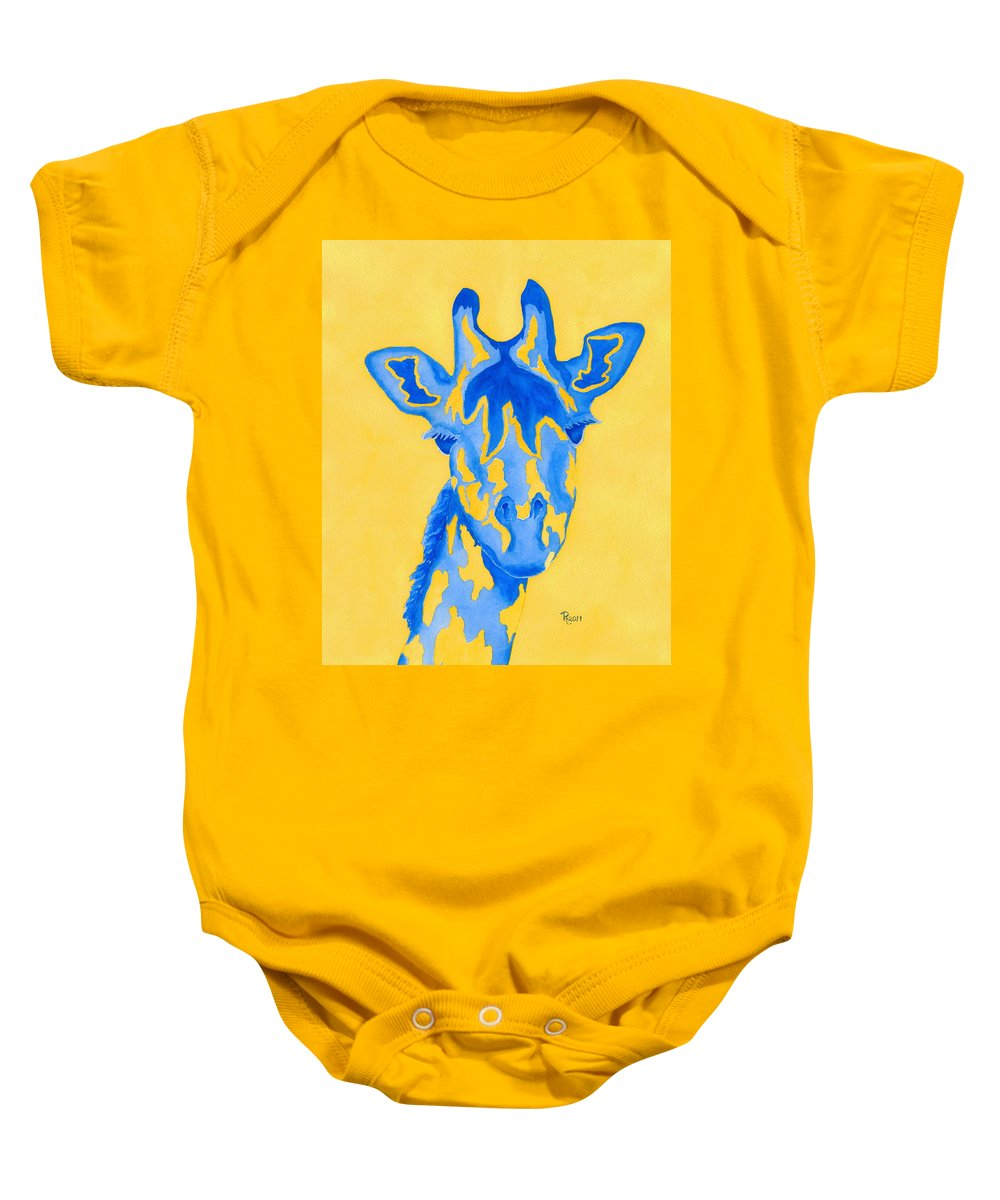 Giraffe Baby Onesie featuring the painting Bluebelle by Rhonda Leonard
