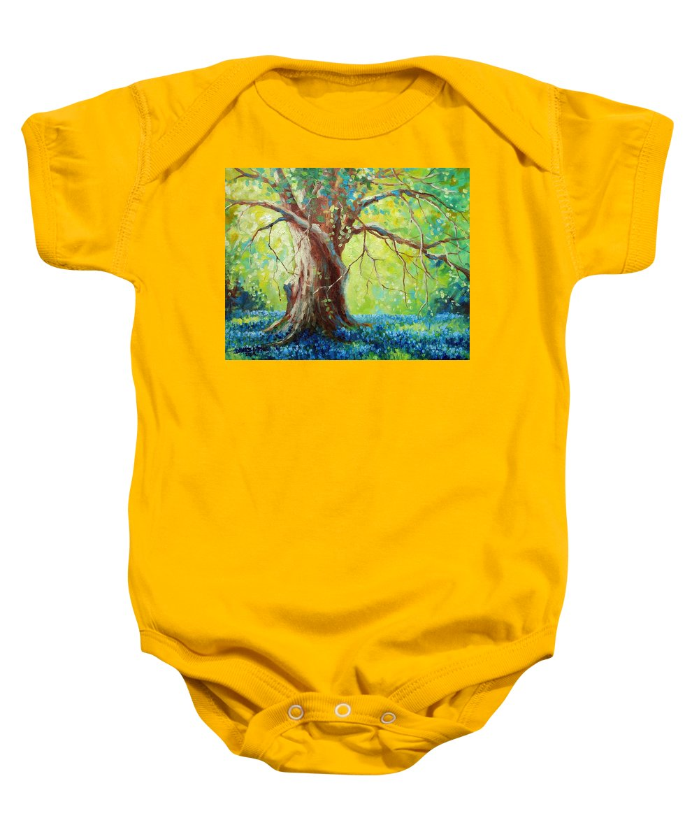 Bluebonnets Baby Onesie featuring the painting Bluebonnets Under The Oak by David G Paul