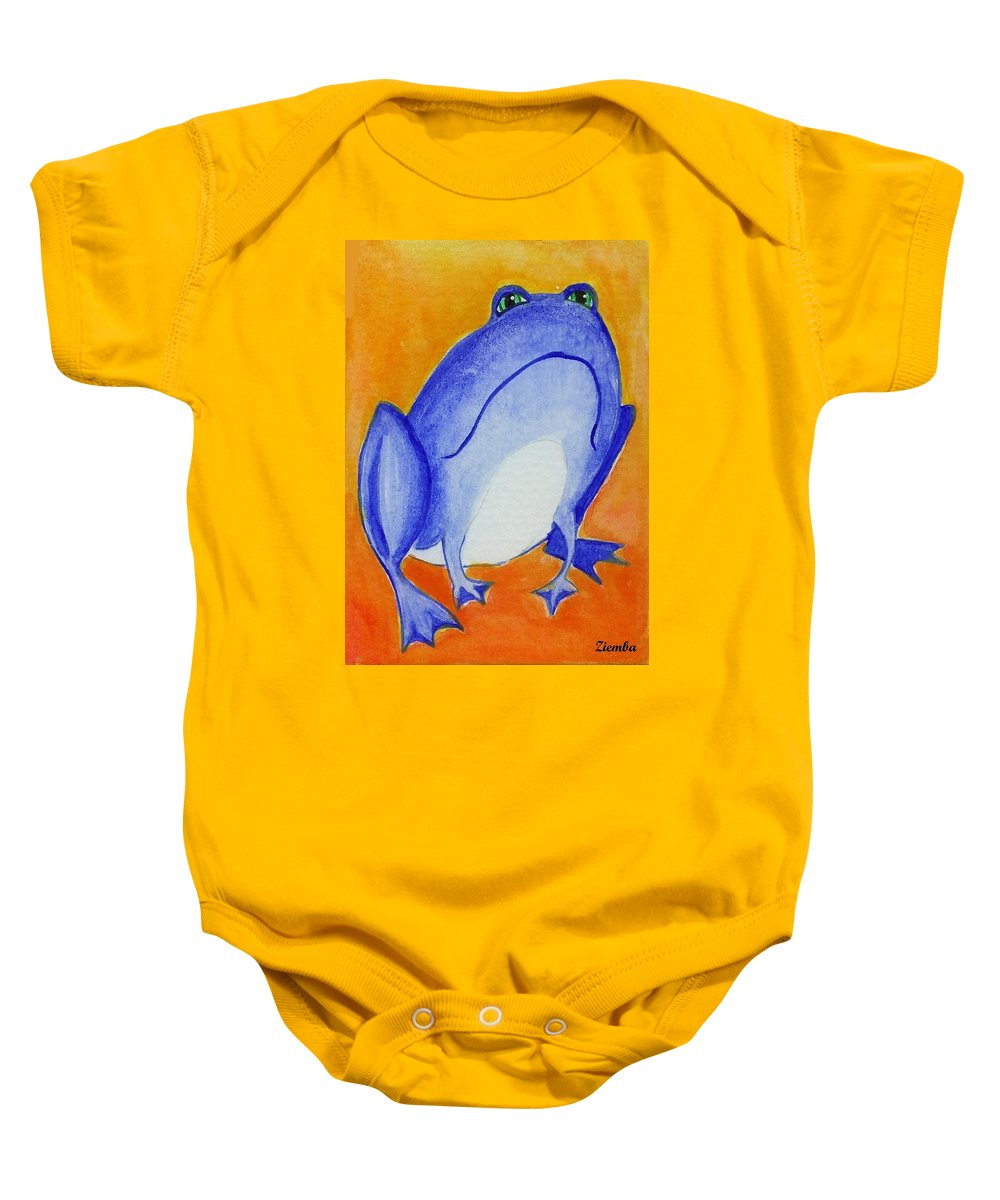 Frog Baby Onesie featuring the painting Bluefrog by Lori Ziemba