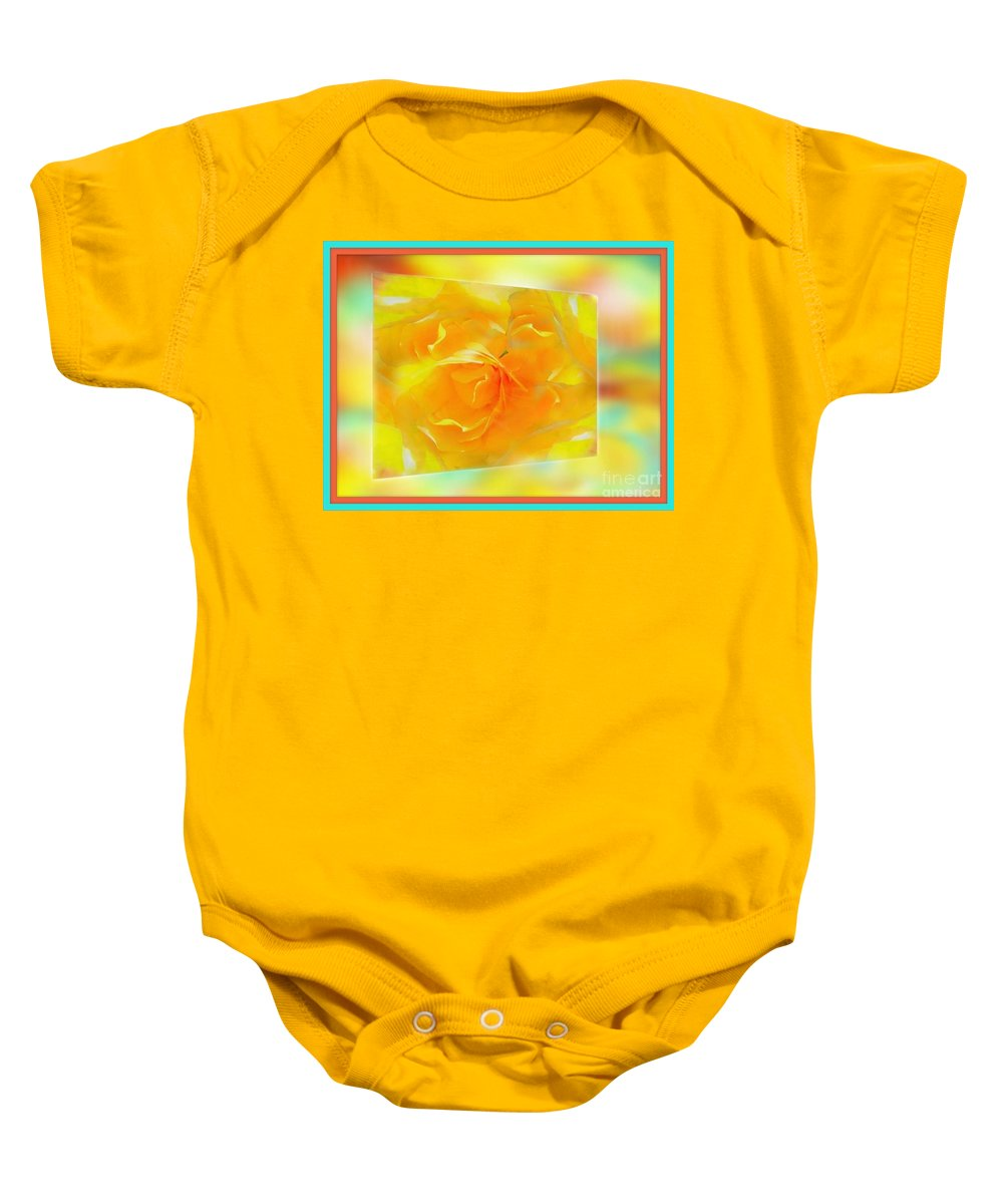 Blushing Baby Onesie featuring the photograph Blushing Yellow Rose Framed by Becky Lupe
