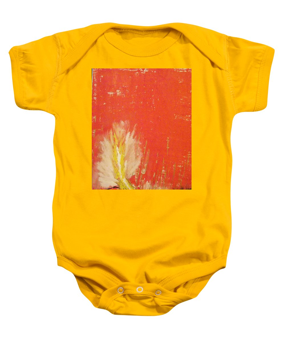 Landscape Baby Onesie featuring the painting Bonfire by Denise Morgan