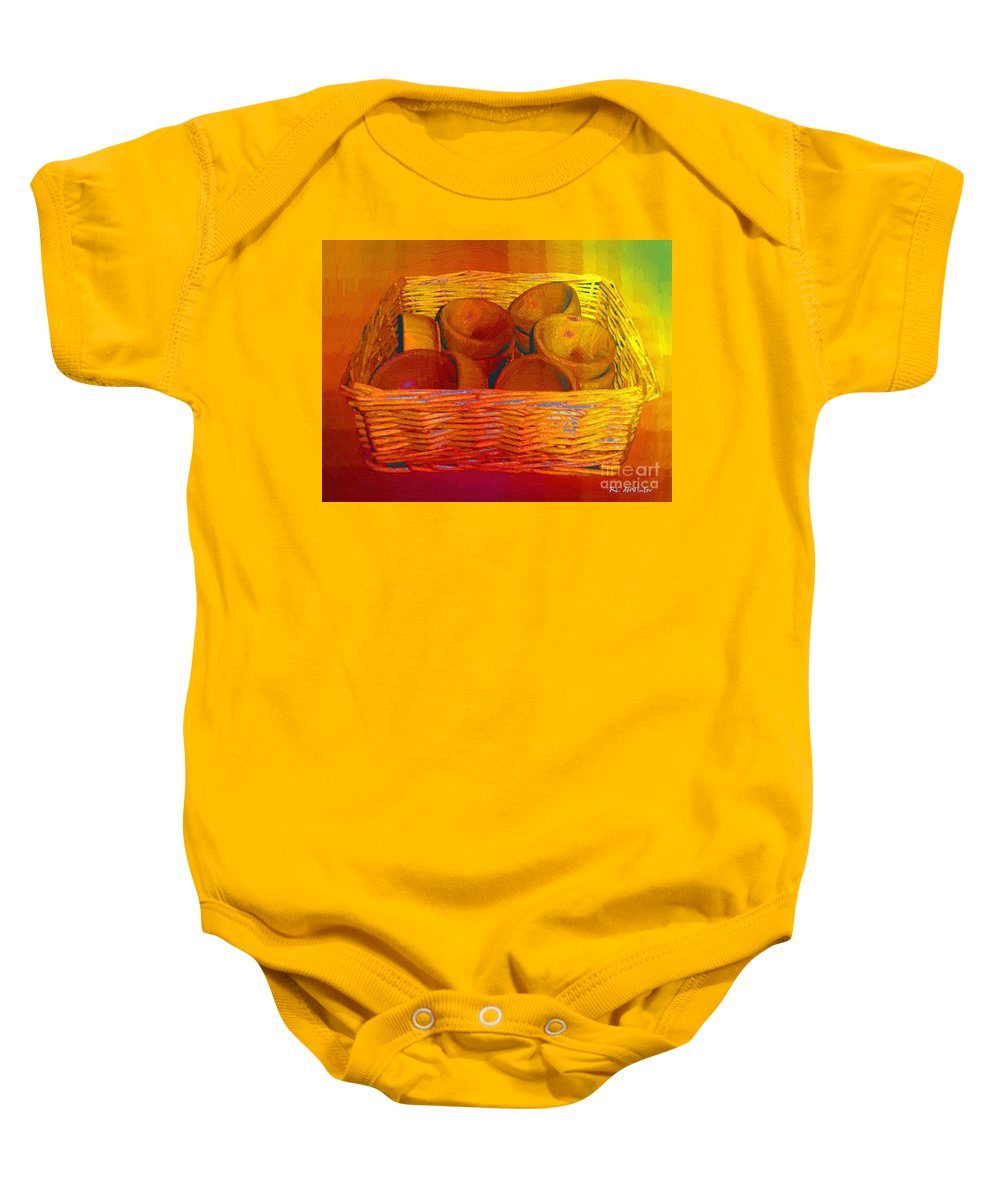 Basket Baby Onesie featuring the painting Bowls In Basket Moderne by RC DeWinter