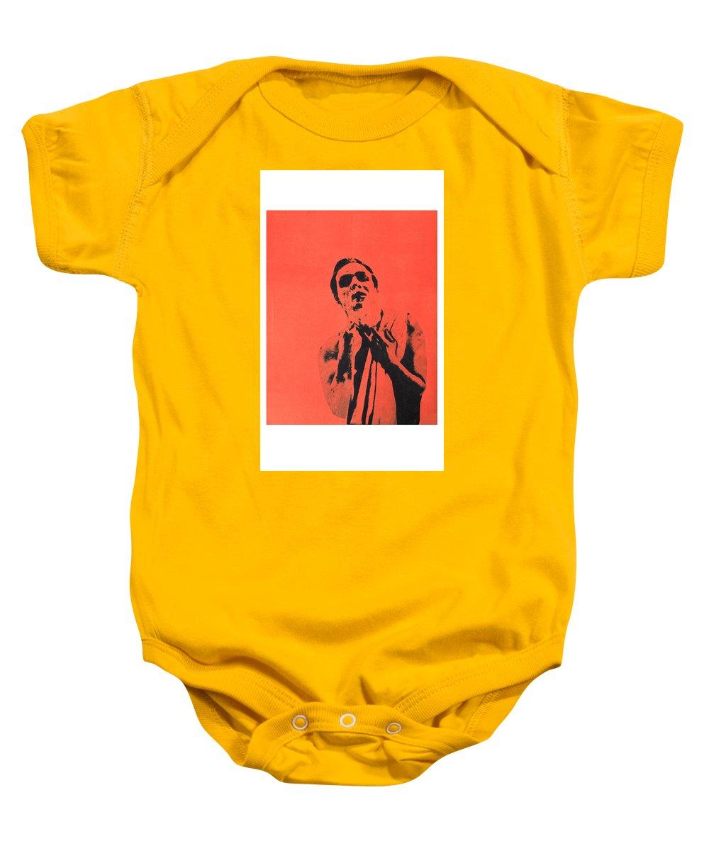 Marlon Brando Baby Onesie featuring the mixed media Brandog by Molly Picklesimer