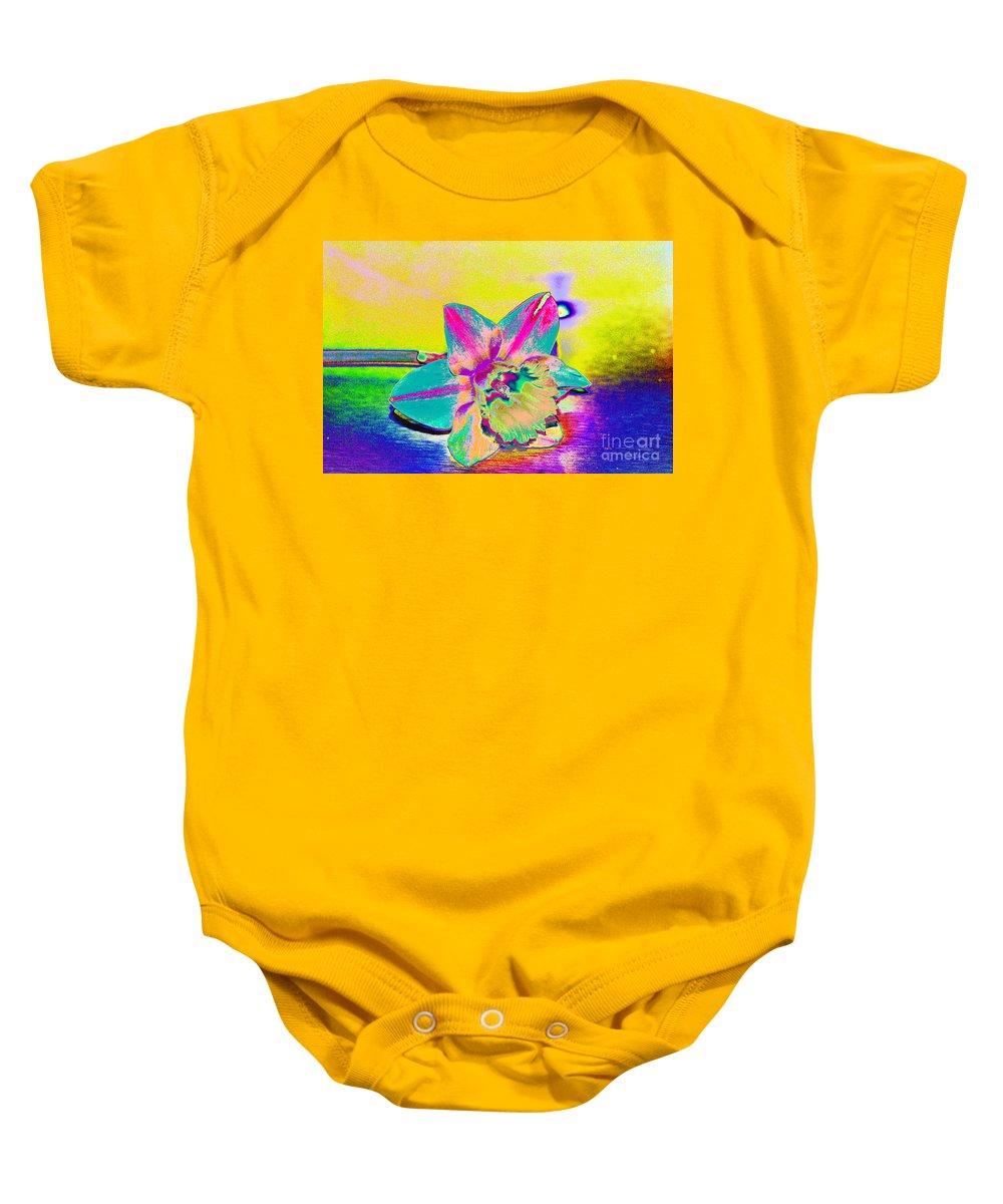 Daff Baby Onesie featuring the digital art Bright Daff by Carol Lynch