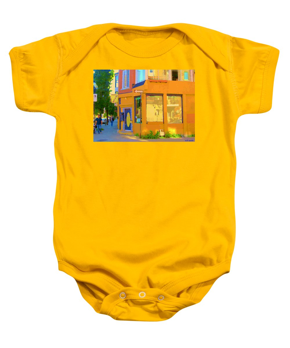 Montreal Baby Onesie featuring the painting Bring Your Own Wine Restaurant Vents Du Sud Rue Roy Corner French Cafe Street Scene Carole Spandau by Carole Spandau