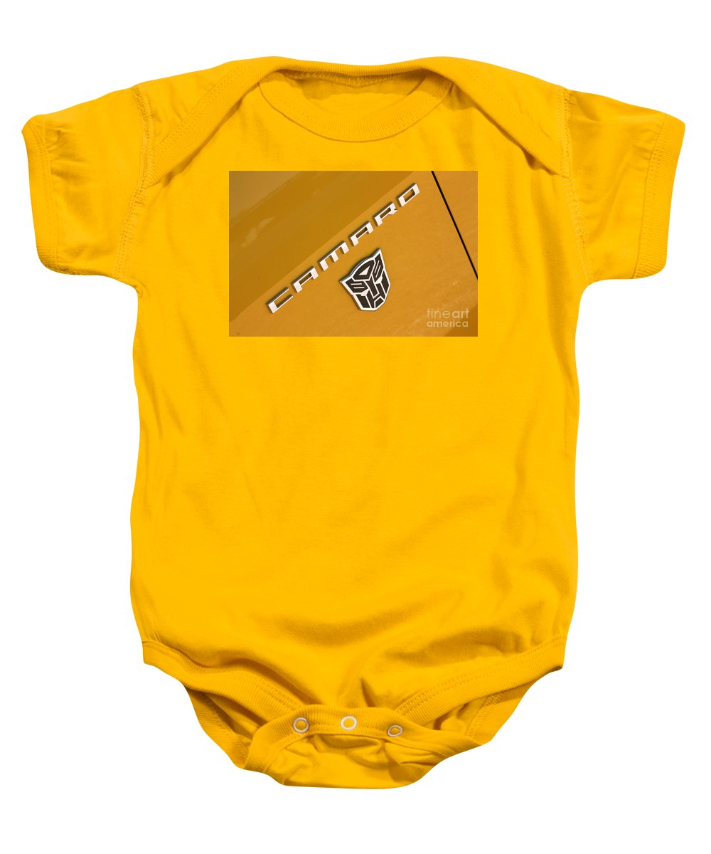 2011 Chevrolet Camaro Baby Onesie featuring the photograph Bumble Bee Logo-7938 by Gary Gingrich Galleries