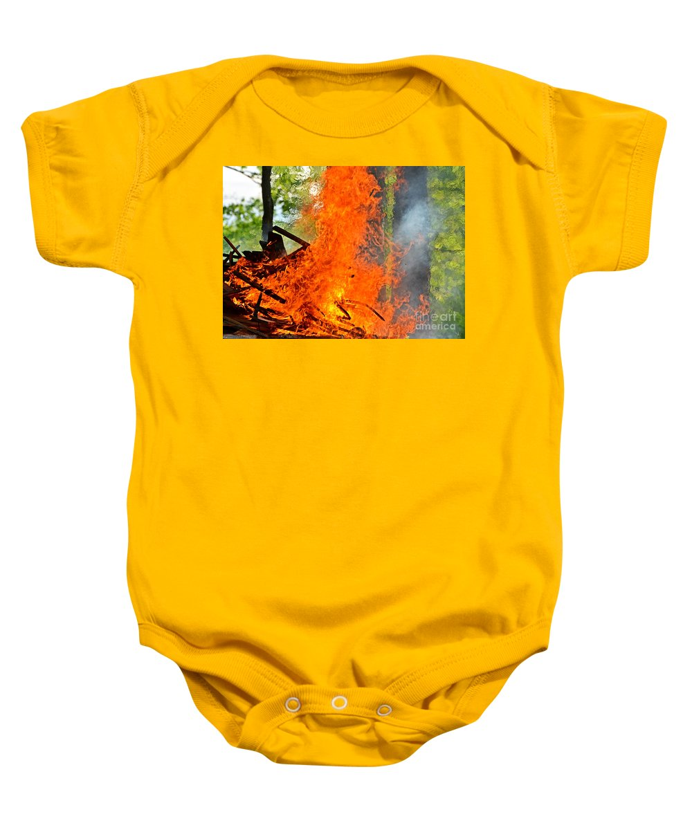 Nature Baby Onesie featuring the photograph Burning Brush by Debbie Portwood