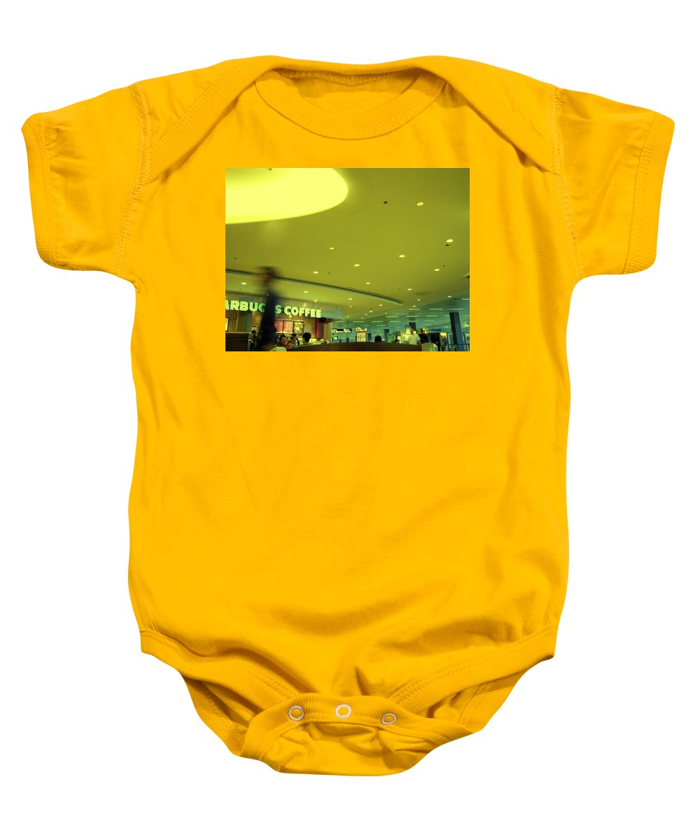 Airport Terminal Baby Onesie featuring the photograph Caffe On The Fly by Kathleen Grace