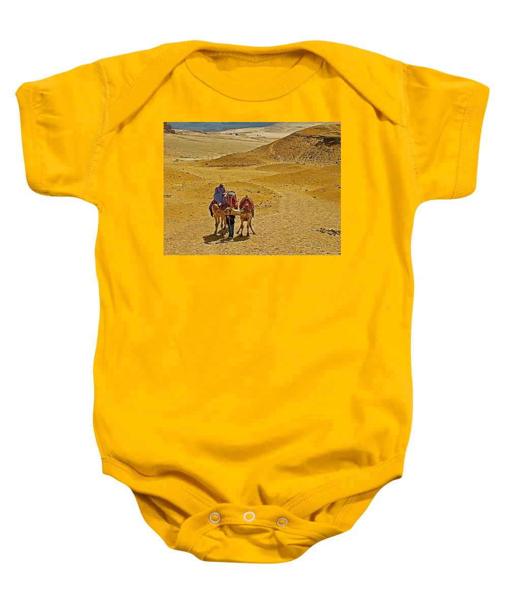 Camels Nuzzling On The Giza Plateau Baby Onesie featuring the photograph Camels Nuzzling On The Giza Plateau-egypt by Ruth Hager