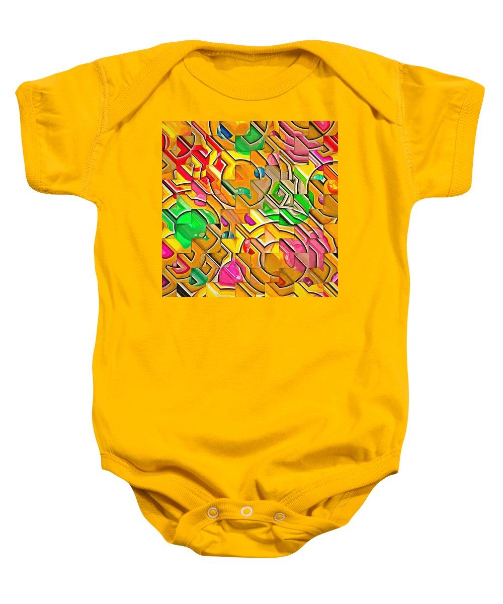 Candy - Lolly Pop Abstract Baby Onesie featuring the painting Candy - Lolly Pop Abstract by L Wright